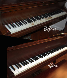 before after newly refinished piano